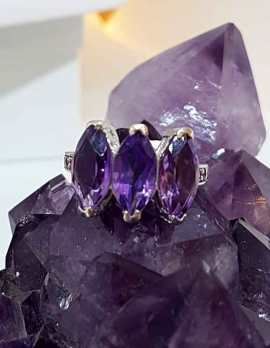 Three Amethysts on Sterling Silver Ring