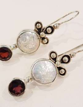 Sterling Silver Garnet and Pearl Long Drop Earrings