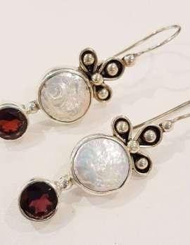 Sterling Silver Garnet and Pearl Long Drop Earrings