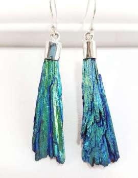 titanium kyanite - blue and green earrings