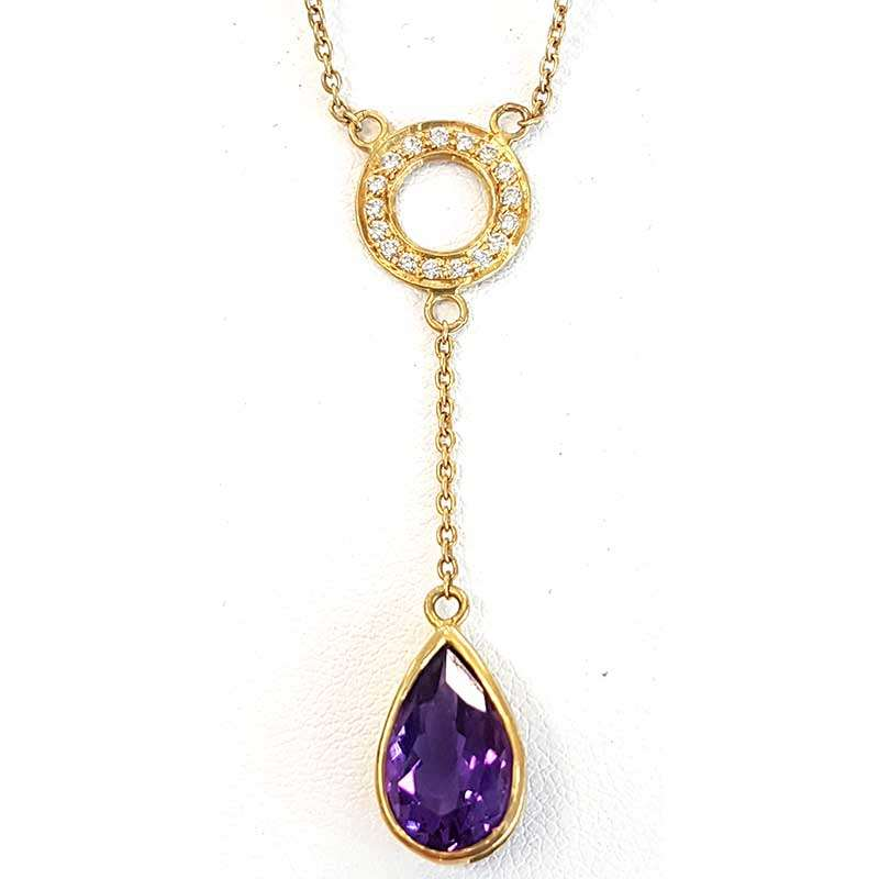 Teardrop amethyst and diamond gold chain pendant