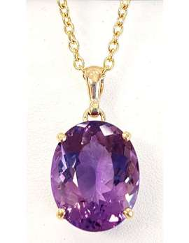 Large oval faceted amethyst necklace