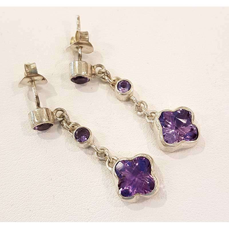 Sterling silver chain earrings with flower shaped amethyst