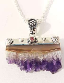 Sterling Silver Choker Necklace with Amethyst crystal slice