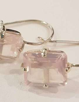 translucent rose-quartz and gold earrings