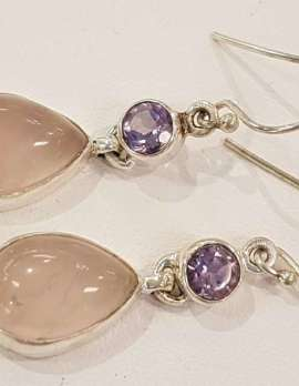 rose-quartz, amethyst and gold drop earrings