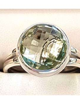 Sterling Silver Green Amethyst Round Ring