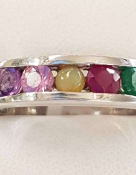 """Sterling Silver Multi-Colour Gemstone """" AMORE """" Ring - Amethyst, Morganite, Opal, Ruby and Emerald"""
