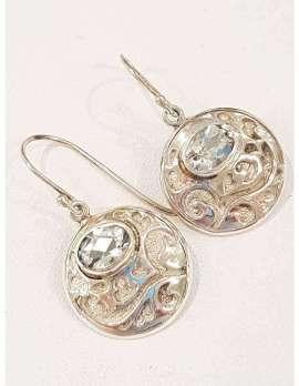 Sterling Silver Green Amethyst Earrings - Round