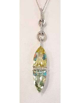 White Gold Green Amethyst, Citrine and Diamonds Pendant on White Gold Chain