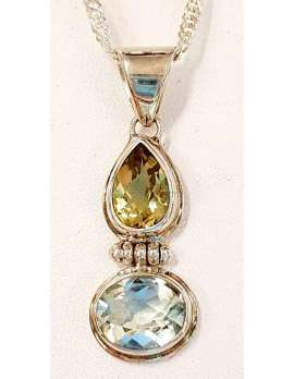 Sterling Silver Green Amethyst and Citrine Pendant on Chain