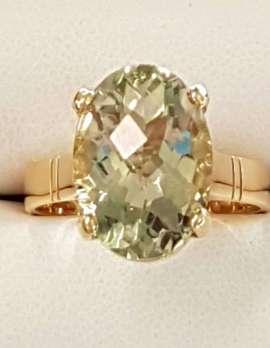 9ct Gold Green Amethyst - Prasiolite Oval Ring