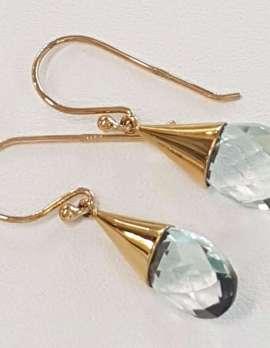 9ct Gold Green Amethyst / Prasiolite Drop Earrings