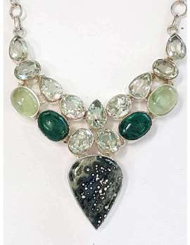 Sterling Silver Green Amethyst , Prehonite - Large Cluster Necklace