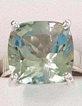 Sterling Silver Green Amethyst - Prasiolite Square Ring