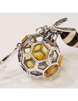 Sterling Silver and Amber Bee Pendant on Sterling Silver Chain