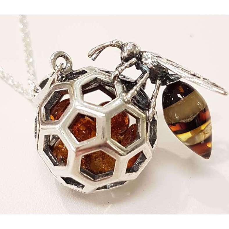 Sterling Silver and Amber Wasp Pendant on Sterling Silver Chain