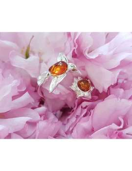 Sterling Silver and Amber Hummingbird Ring