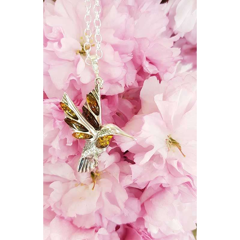 Sterling Silver and Amber Hummingbird Pendant on Sterling Silver Chain