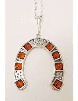 Sterling silver and amber horseshoe pendant