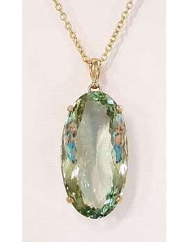 9ct Gold Green Amethyst / Prasiolite Large Oval Pendant on 9ct Chain