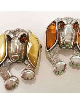 Sterling silver and amber dog rings