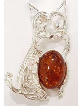 Sterling silver and amber terrier dog pendant