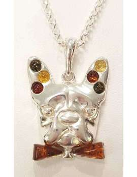 Sterling silver amber dog pendant