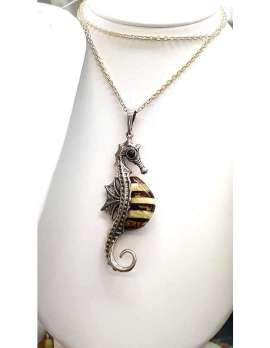 Sterling Silver and Amber Seahorse necklace