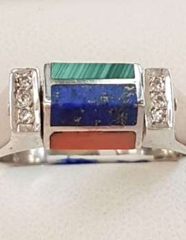 "White Gold ""Spinner"" Ring. Set with Diamonds and Malachite, Lapis Lazuli, Coral & Onyx."