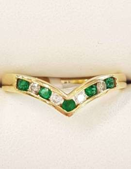 9ct Gold Emerald and Diamond Wishbone Ring