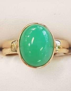 9ct Gold Bezel Set Chrysophrase / Australian Jade Ring