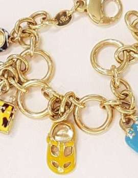 Solid 18ct Gold Enamel Charm Bracelet - Heavy