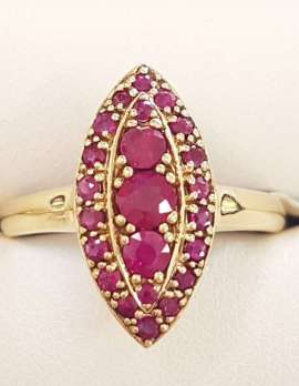 9ct Yellow Gold Natural Ruby Marquis Shape Cluster Ring
