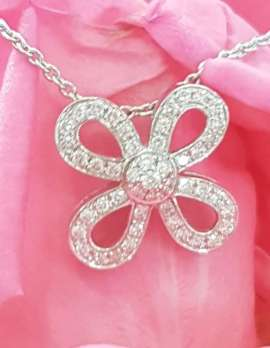 9ct White Gold Bow Diamond Pendant on 9ct Chain