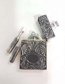 Sterling Silver Ornates Sewing Kit / Pendant / Case New