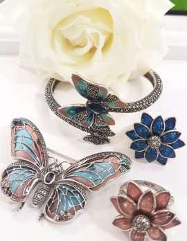 Sterling Silver, Marcasite and Enamel Butterfly Bangle, Butterfly Brooch and Flower Rings - Sold Individually