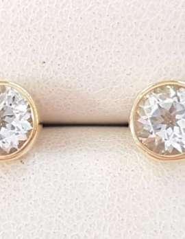 9ct Gold Aquamarine Round Bezel Set Stud Earrings