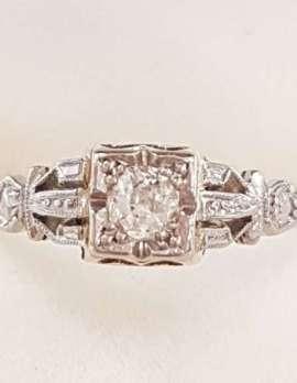 18ct Yellow Gold & Platinum Filigree Diamond Square Engagement Ring