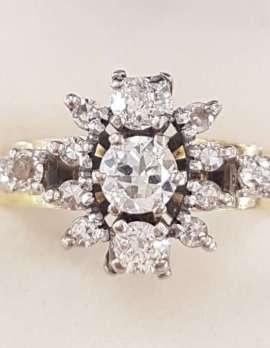 18ct Yellow Gold & Platinum Large Cluster Diamond Ring