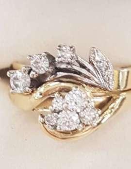 18ct Yellow Gold & Platinum Exquisite Cluster Diamond Engagement & Wedding Ring Set