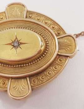 15ct Yellow Gold & Diamond Large Ornate Antique Brooch