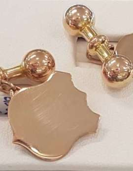 9ct Rose Gold Cufflinks - Shield Shape