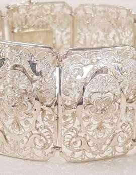 Sterling Silver Wide Ornate Filigree Bracelet - Antique / Vintage