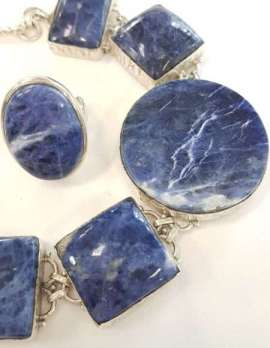 Sterling Silver Large Sodalite Bracelet and Oval Ring - Sold Individually