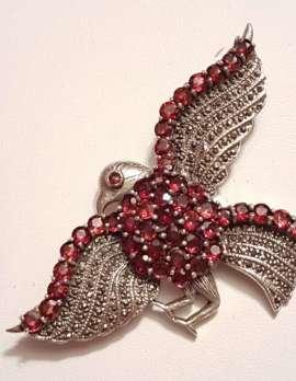 Sterling Silver Marcasite and Garnet Large Bird / Eagle Brooch