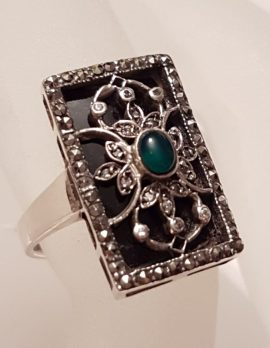 Sterling Silver Marcasite, Green Agate / Onyx & Black Onyx Ornate Filigree Ring - Art Deco Style