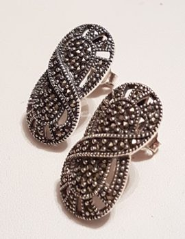 Sterling Silver Marcasite Large Oval Filigree Stud Earrings