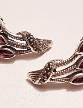 Sterling Silver Marcasite & Garnet Stud Earrings