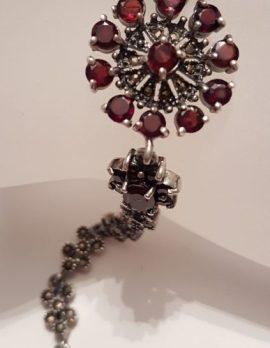 Sterling Silver Marcasite & Garnet Flower Bracelet